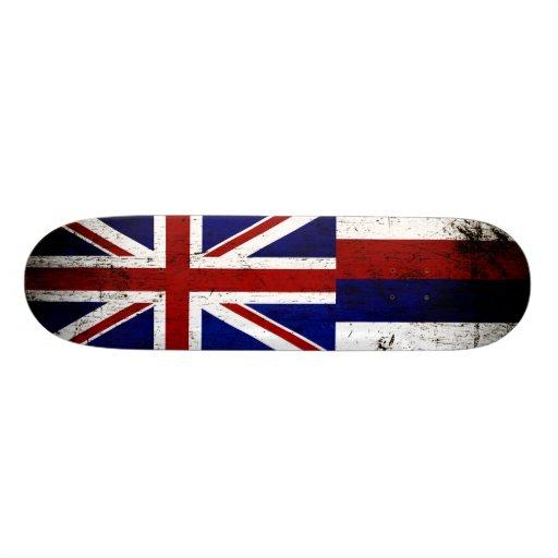 Black Grunge Hawaii State Flag Skate Decks