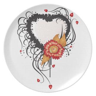 Black Grunge Heart Sunflower Dinner Plates