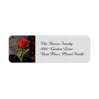 Black Grunge Hearts with Red Rose