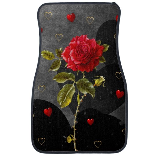 Black Grunge Hearts with Red Rose Car Floor Carpet
