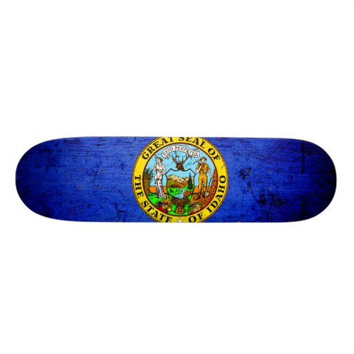 Black Grunge Idaho State Flag Skate Boards