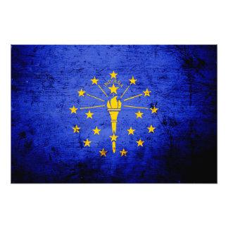 Black Grunge Indiana State Flag Photo