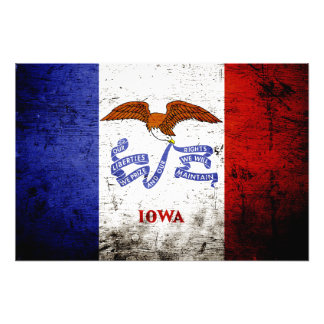 Black Grunge Iowa State Flag Photo Print