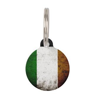 Black Grunge Ireland Flag Pet Name Tag