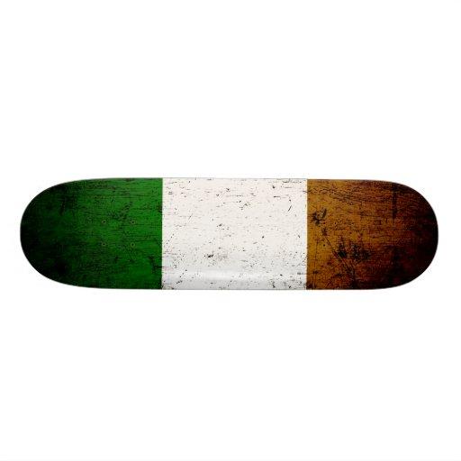 Black Grunge Ireland Flag Custom Skate Board