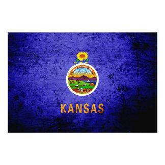 Black Grunge Kansas State Flag Photo