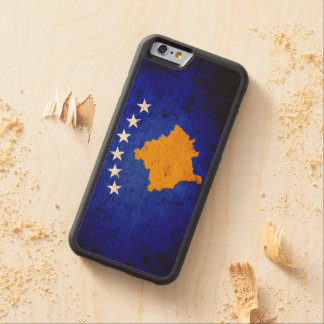 Black Grunge Kosovo Flag Carved Maple iPhone 6 Bumper Case