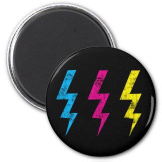 Black Grunge Lightning Magnet