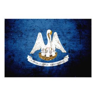 Black Grunge Louisiana State Flag Art Photo