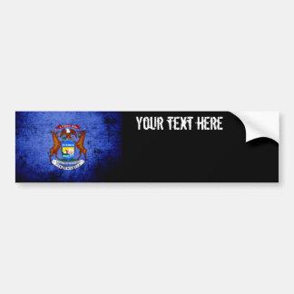 Black Grunge Michigan State Flag Bumper Stickers