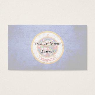 Black Grunge Minnesota State Flag Business Card
