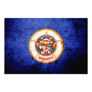Black Grunge Minnesota State Flag Photo Art