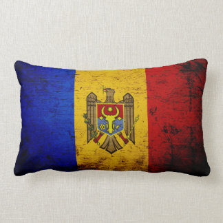 Black Grunge Moldova Flag Lumbar Pillow