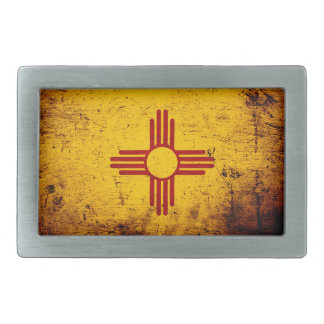 Black Grunge New Mexico State Flag Belt Buckle