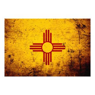 Black Grunge New Mexico State Flag Photo Art