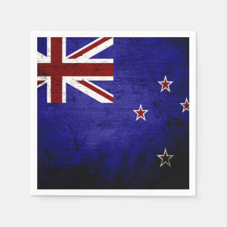 Black Grunge New Zealand Flag 1 Disposable Napkin