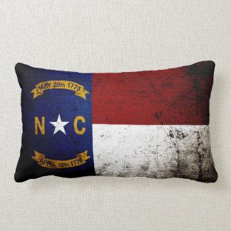 Black Grunge North Carolina  State Flag Lumbar Pillow