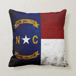 Black Grunge North Carolina  State Flag Throw Pillow