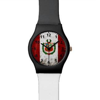 Black Grunge Peru Flag Watch