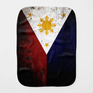 Black Grunge Philippines Flag Burp Cloth