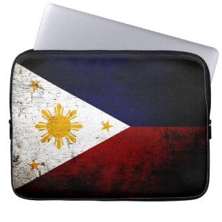 Black Grunge Philippines Flag Laptop Sleeve