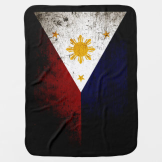 Black Grunge Philippines Flag Stroller Blankets