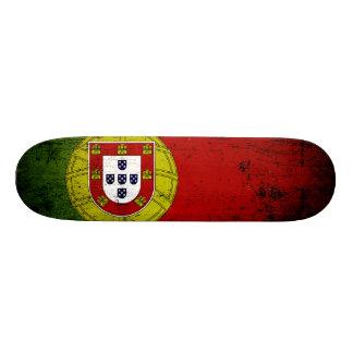 Black Grunge Portugal Flag Skate Board