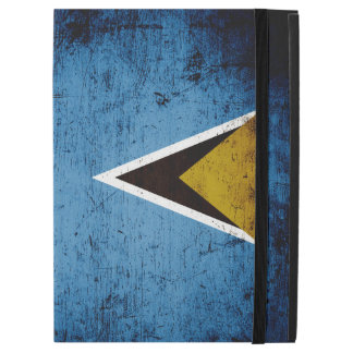 "Black Grunge Saint Lucia Flag iPad Pro 12.9"" Case"