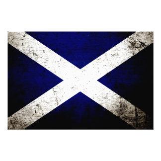Black Grunge Scotland Flag Photo Print