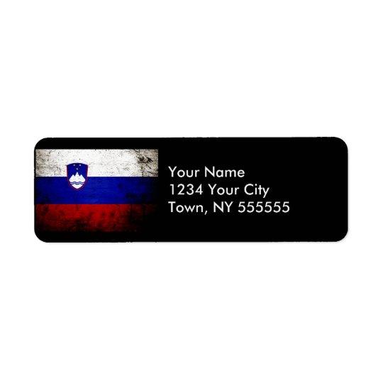 Black Grunge Slovenia Flag Return Address Label