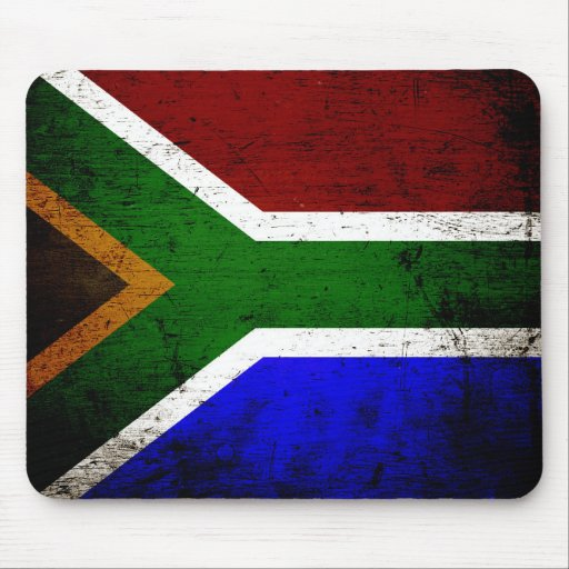 Black Grunge South Africa Flag Mouse Pad