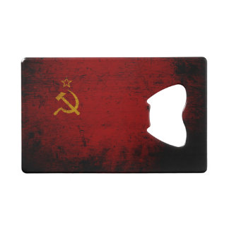 Black Grunge Soviet Union Flag Credit Card Bottle Opener