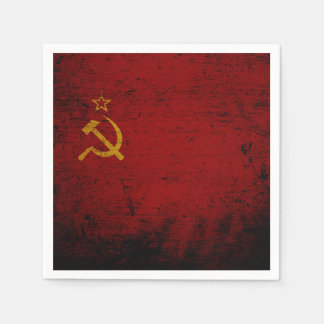 Black Grunge Soviet Union Flag Disposable Napkins