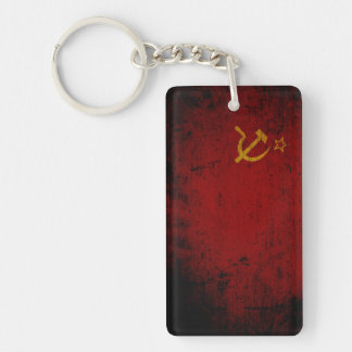 Black Grunge Soviet Union Flag Keychain