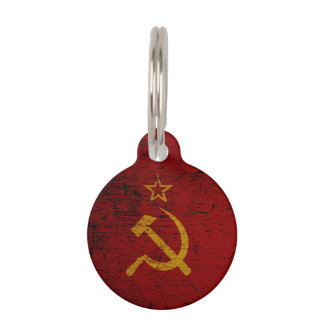 Black Grunge Soviet Union Flag Pet Name Tag