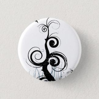 Black Grunge Swirls With Bird - Blue 1 Inch Round Button
