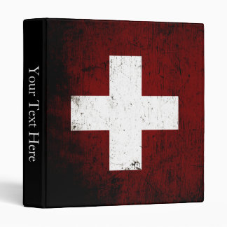Black Grunge Switzerland Flag 3 Ring Binders