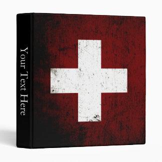 Black Grunge Switzerland Flag Binder