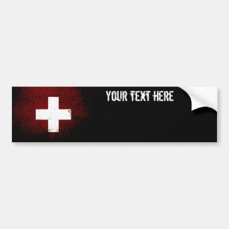 Black Grunge Switzerland Flag Bumper Sticker