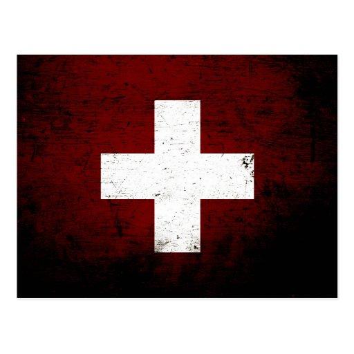 Black Grunge Switzerland Flag Postcard