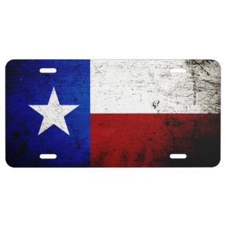 Black Grunge Texas State Flag 1 License Plate