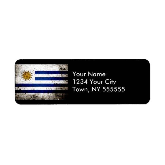 Black Grunge Uruguay Flag Return Address Label