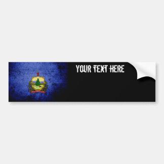Black Grunge Vermont State Flag Bumper Sticker