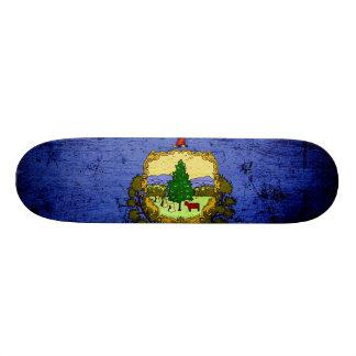 Black Grunge Vermont State Flag Custom Skateboard