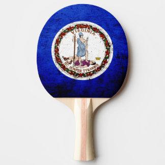 Black Grunge Virginia State Flag Ping Pong Paddle