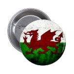 Black Grunge Wales Flag Button