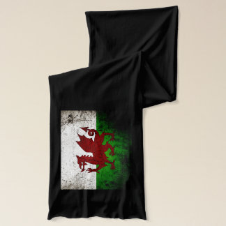 Black Grunge Wales Flag Scarf