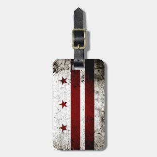 Black Grunge Washington DC Flag Luggage Tag