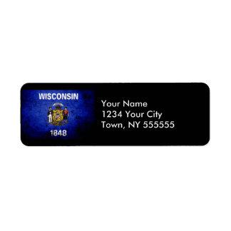 Black Grunge Wisconsin State Flag Return Address Label