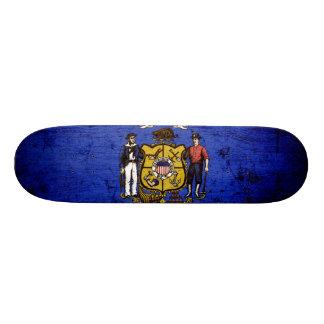 Black Grunge Wisconsin State Flag Skate Deck